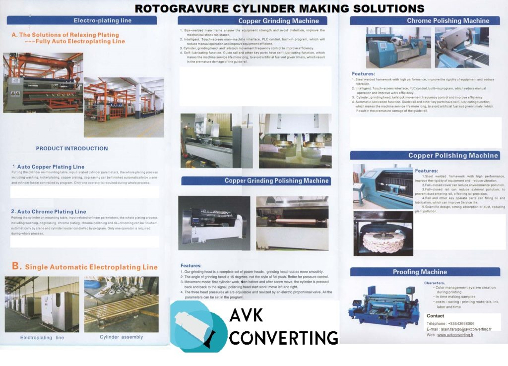 EQUIPMENT FOR GRAVURE CYLINDERS MANUFACTURING